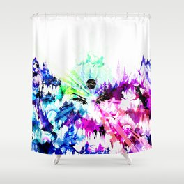 'The Eyes of Cosmos' Illustration by Hannah Stouffer Shower Curtain