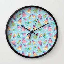 Colorful Christmas Trees Wall Clock