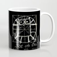 da vinci Mugs featuring Kot da Vinci (black) by Katja Main