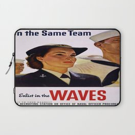 Vintage poster - Enlist in the Waves Laptop Sleeve