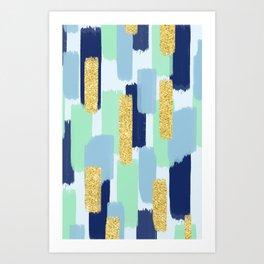 Navy and Gold Glitter Brush Strokes Art Print