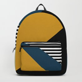 Striped, Abstract, Geometric Art, Blue, Yellow and Black Backpack