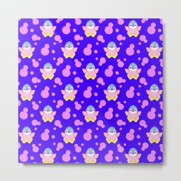 Cute sweet lovely little baby penguins flapping wings and bold pink retro dots pretty blue pattern Metal Print