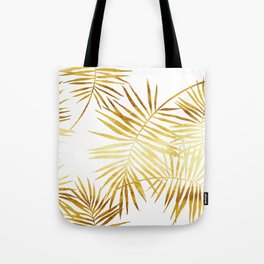 Tropical Palm Fronds in Gold Tote Bag