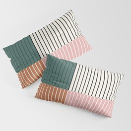 Color Block Line Abstract V Pillow Sham
