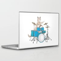 drums Laptop & iPad Skins featuring Cat Playing Drums - Blue by Ornaart