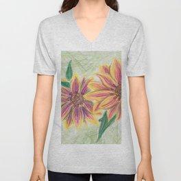 Funky Flowers Unisex V-Neck