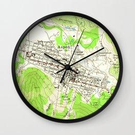 Vintage Map of Aspen Colorado (1960) Wall Clock