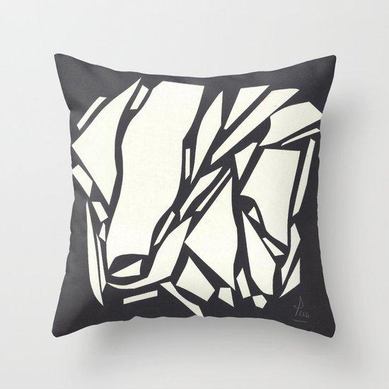 Abstract black white Throw Pillow