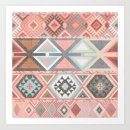 Aztec Artisan Tribal in Pink Art Print