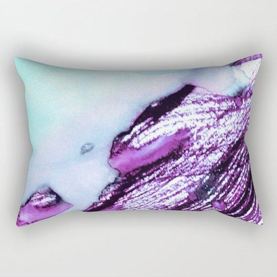 Light Blue Abstract Watercolor Ink Art Rectangular Pillow