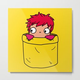 Ponyo in a pocket Metal Print