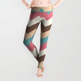 Vintage Chevron Pattern – Red Yellow Blue and Brown Leggings