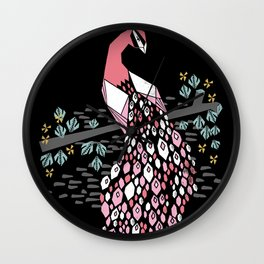 Peacock bird art screen print by andrea lauren floral nature animal decor Wall Clock