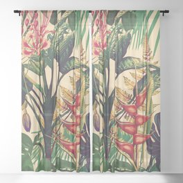 Vintage Tropical Flora (green) Sheer Curtain