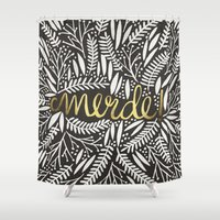 french Shower Curtains featuring Pardon My French – Gold on Black by Cat Coquillette