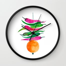 Lemon Chilli Charm - Magenta and orange palette Wall Clock