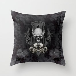 Awesome skull with crow, black and white Throw Pillow
