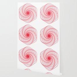 Red Minimal geometric mandala design Wallpaper