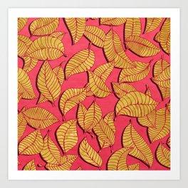 Golden tree leaves pink Art Print