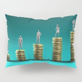 Finance Wealth Increase with Business People Standing on Chart of Gold Coins Pillow Sham