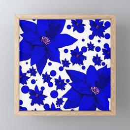 Poinsettia Blue Indigo Pattern Framed Mini Art Print