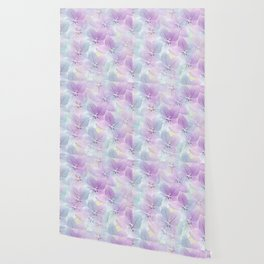Painterly flower field in blue and pink Wallpaper