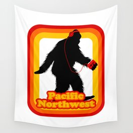 Retro Sasquatch Pacific Northwest Wall Tapestry