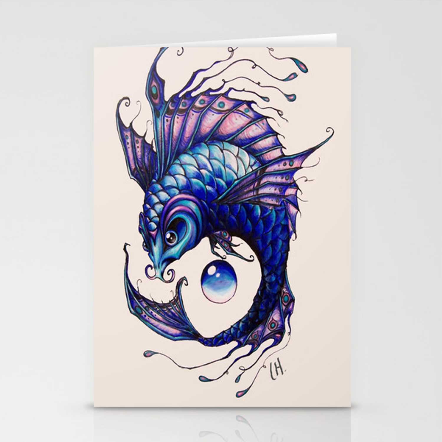 Purple Koi Fish Drawing Stationery Cards By Lyndseylou Society6