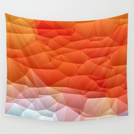 Quilted Pattern Orange Texture Abstract Wall Tapestry