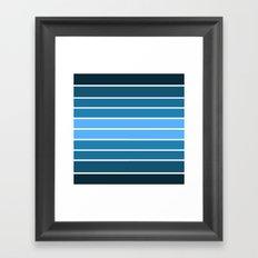 Teal Ombre Stripes Framed Art Print