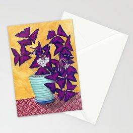 Purple Shamrock Houseplant Painting Stationery Cards