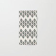 Bohemian Diamonds - Dark gray, light blue and cream pattern Hand & Bath Towel
