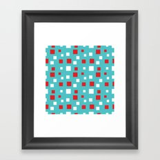 Red and White Squares on Blue Framed Art Print