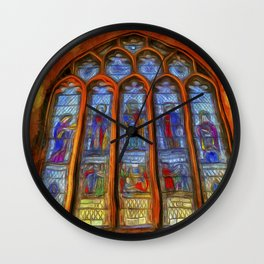 Stained Glass Window Van Gogh Wall Clock