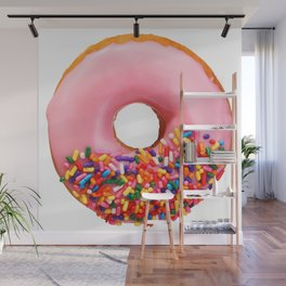 Funny Pattern With Juicy And Tasty Donut Wall Mural