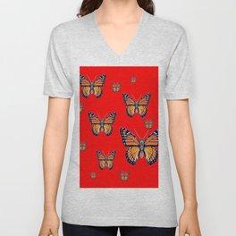 RED ART MONARCH BUTTERFLIES Unisex V-Neck