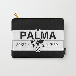 Palma Balearic Islands with World Map GPS Coordinates Carry-All Pouch