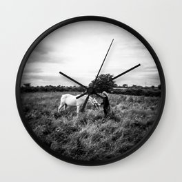 Girl with Horse in Ireland - Black and White Holga Print Wall Clock