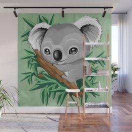 Koala Baby on the Eucalypt Branch Wall Mural