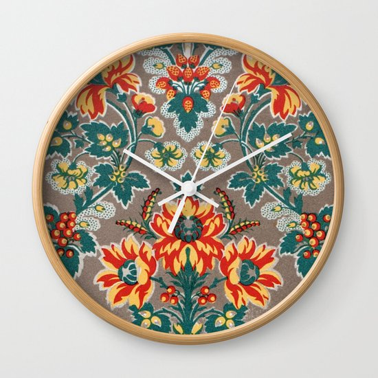 Vintage Floral Pattern 18th Century Decorative Ornate Fancy Wall Clock
