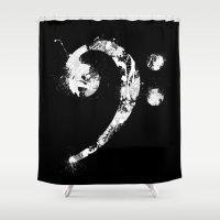 bass Shower Curtains featuring Bass Ink by Li.Ro.Vi