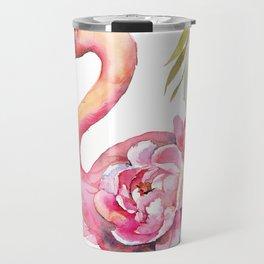 Pink Flamingо with Peony Wings Travel Mug