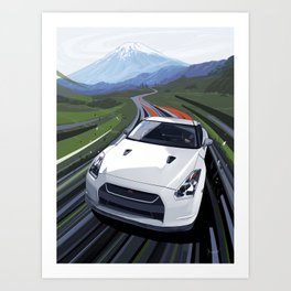 Skyline GT-R Race Car Illustration Art Print Art Print