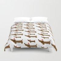 dachshund Duvet Covers featuring Dachshund by Jackiemtmtz