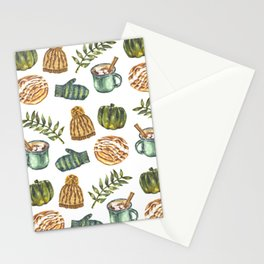 Watercolor Winter Objects Stationery Cards