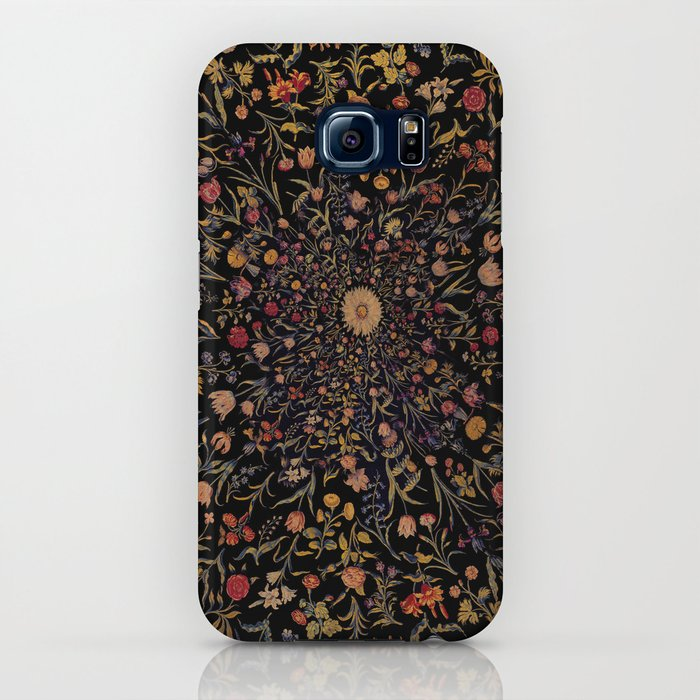 Medieval Flowers on Black iPhone Case