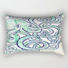 Turquoise Octopus Rectangular Pillow