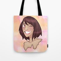 risa rodil Tote Bags featuring Risa by Laura Monaghan Illustration