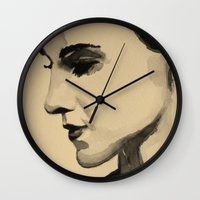 emma watson Wall Clocks featuring Emma II by Isadora Ogawa